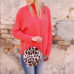 🌺 Coming Richie Round Fur Crossbody Bag Leopard